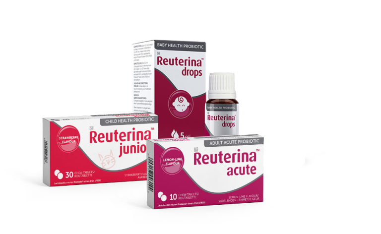 Pack shot front on Reuterina drops, junior and acute