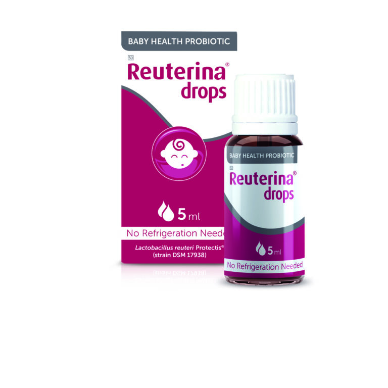 Reuterina Probiotic Drops mock up front on with bottle (white) 2020